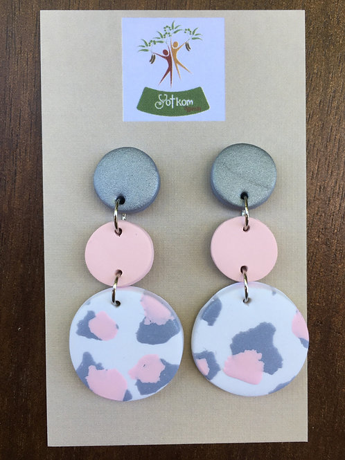 Pink, silver and white leopard earrings