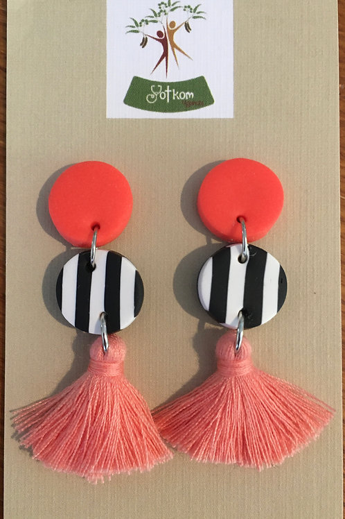 Neon and stripe tassel earrings