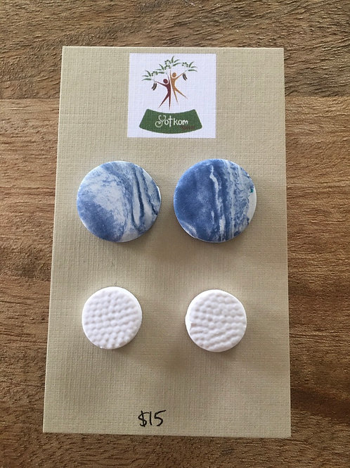 Blue and white polymer clay stud earrings