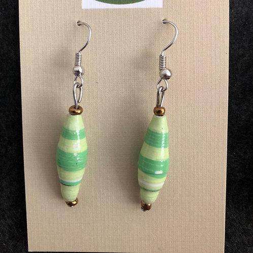 Paper bead dangly earrings (green)