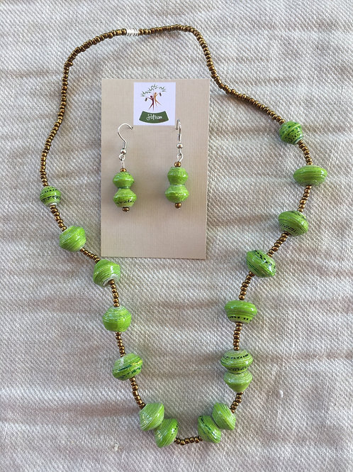 Green Ugandan paper bead necklace and earring set