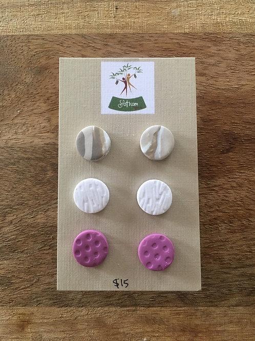 Polymer clay earrings stud set