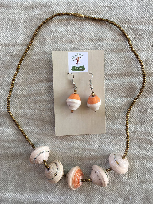 Paper bead necklace (peach and white) with matching earrings