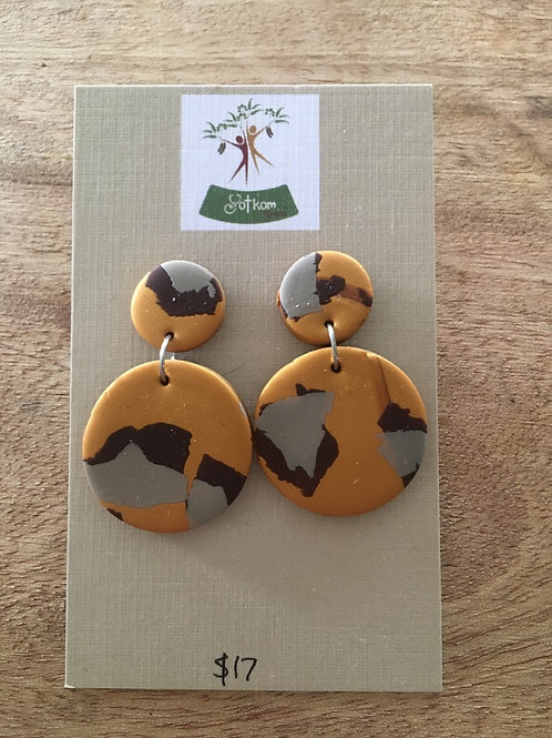Leopard polymer clay round earrings