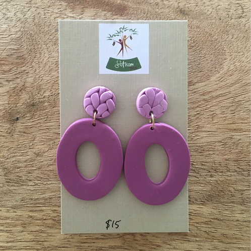 Mauve polymer clay drop down earrings