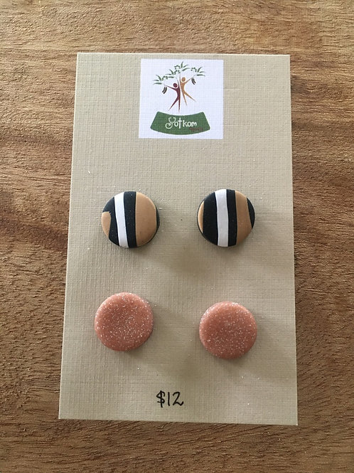 Polymer clay stud earrings pack