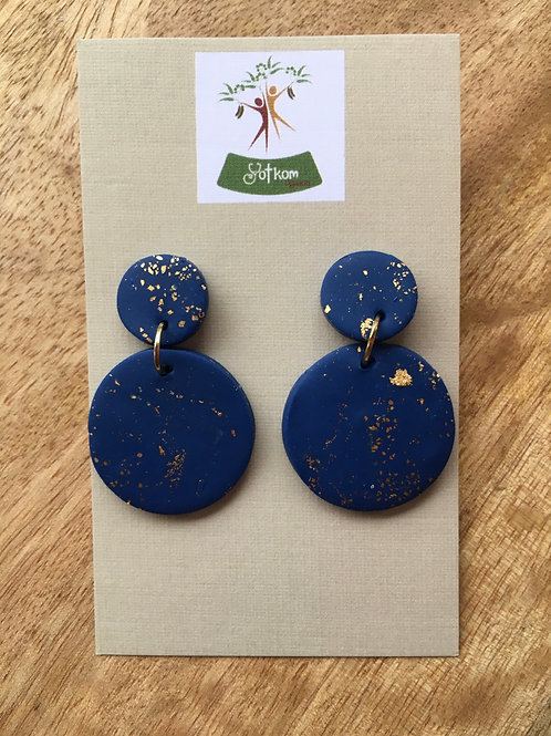 Midnight blue and gold leaf earrings