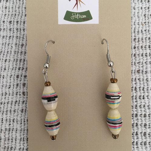 Ugandan paper bead dangly earrings