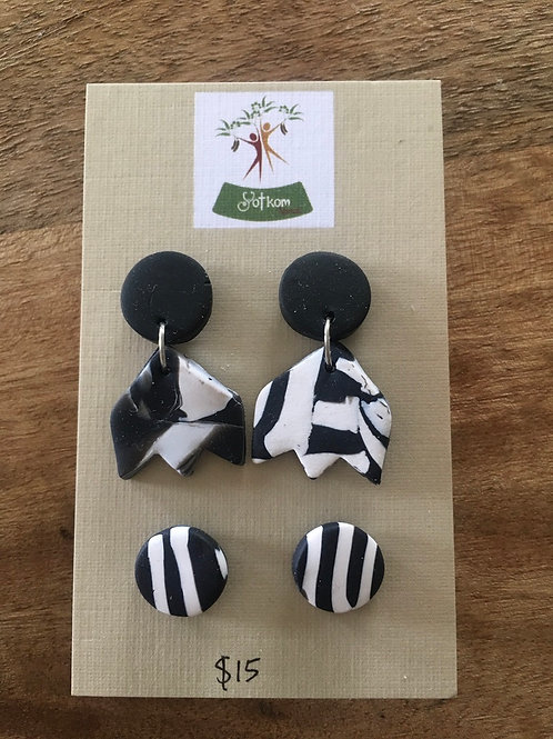 Black and white polymer clay earrings set