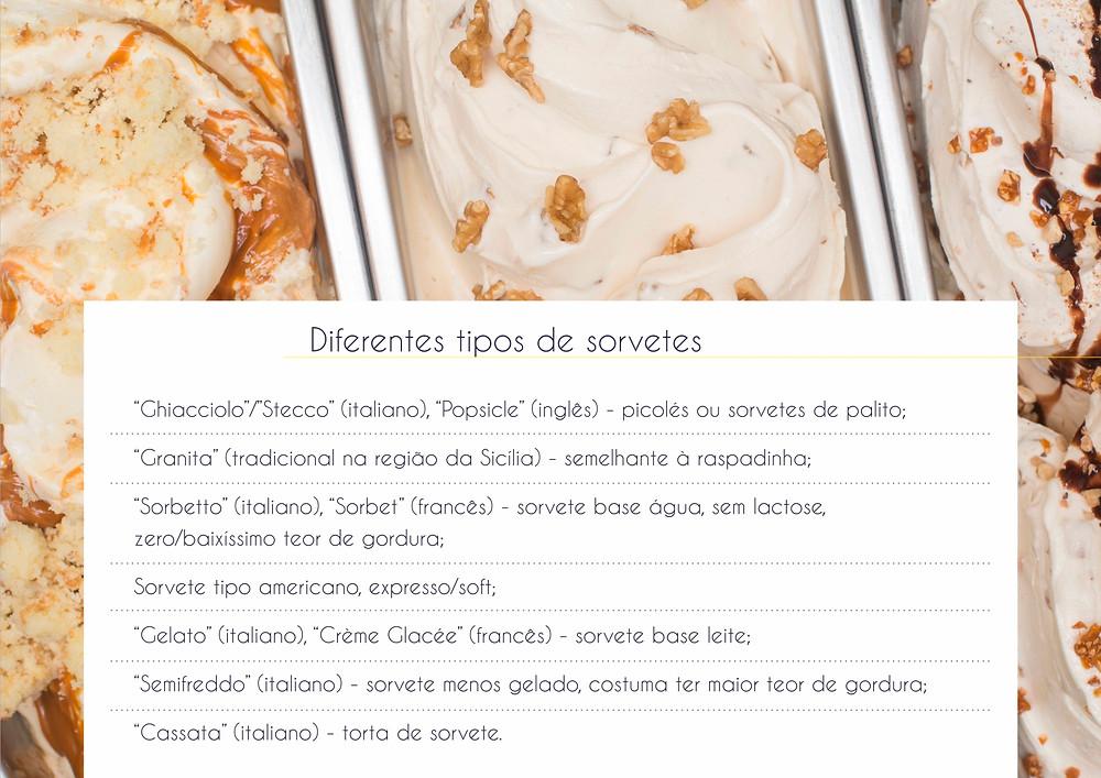 Diferentes tipos de sorvetes