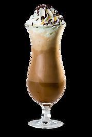 Café espresso com sorvete de chocolate, coberto com chantilly e granulado