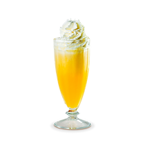 Suco de laranja com sorvete de abacaxi e chantilly