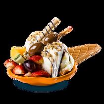 Dois sabores de sorvete com frutas da estação, castanha e caju picada, coberto com caldas de chocolate, caramelo e marshmallow