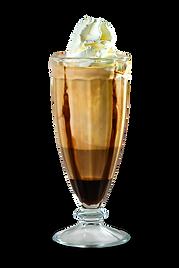 Café espresso batido com sorvete e coberto com chantilly