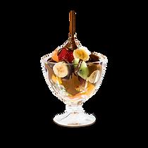 Frutas da estação picadas e cobertas com chocolate derretido  Opções: pode ser servido no cascão artesanal; acrescente uma bola de sorvete +7 (servido somente na taça)