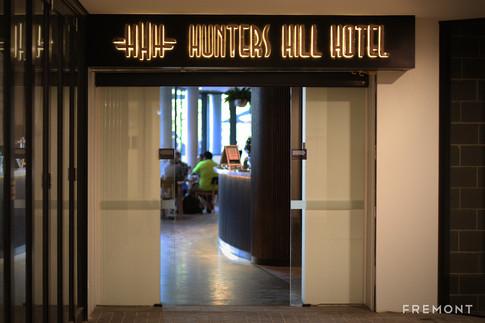 Hunter hill hotel enty illuminated sign.