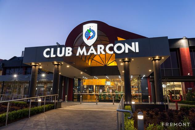 CLub Marconi illuminated building sign 2