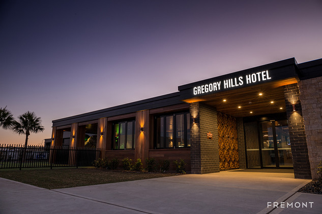 Gregory hills entry illuminated building