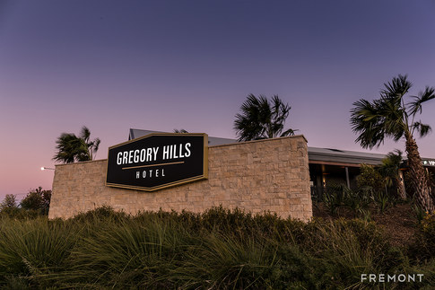Gregory hills illuminated building sign.