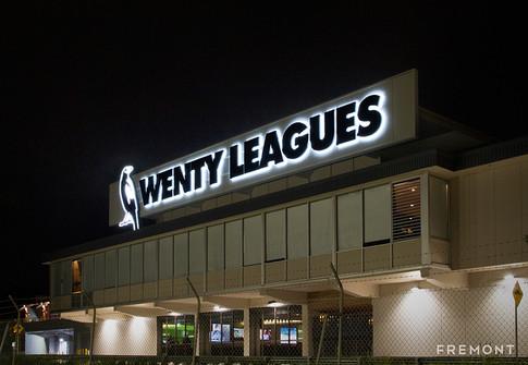 wenty leagues-illuminated building sign.
