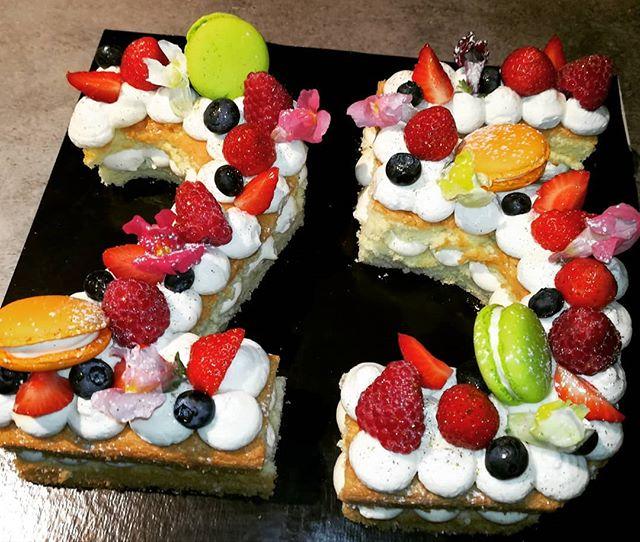 #numbercake génoise crème vanille
