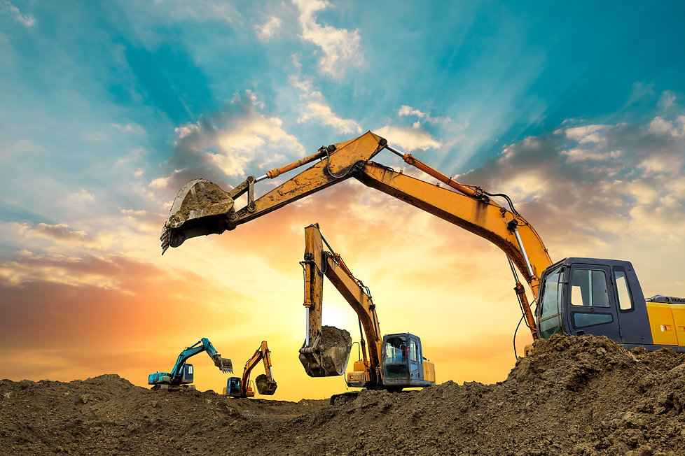 Four excavators work on construction sit
