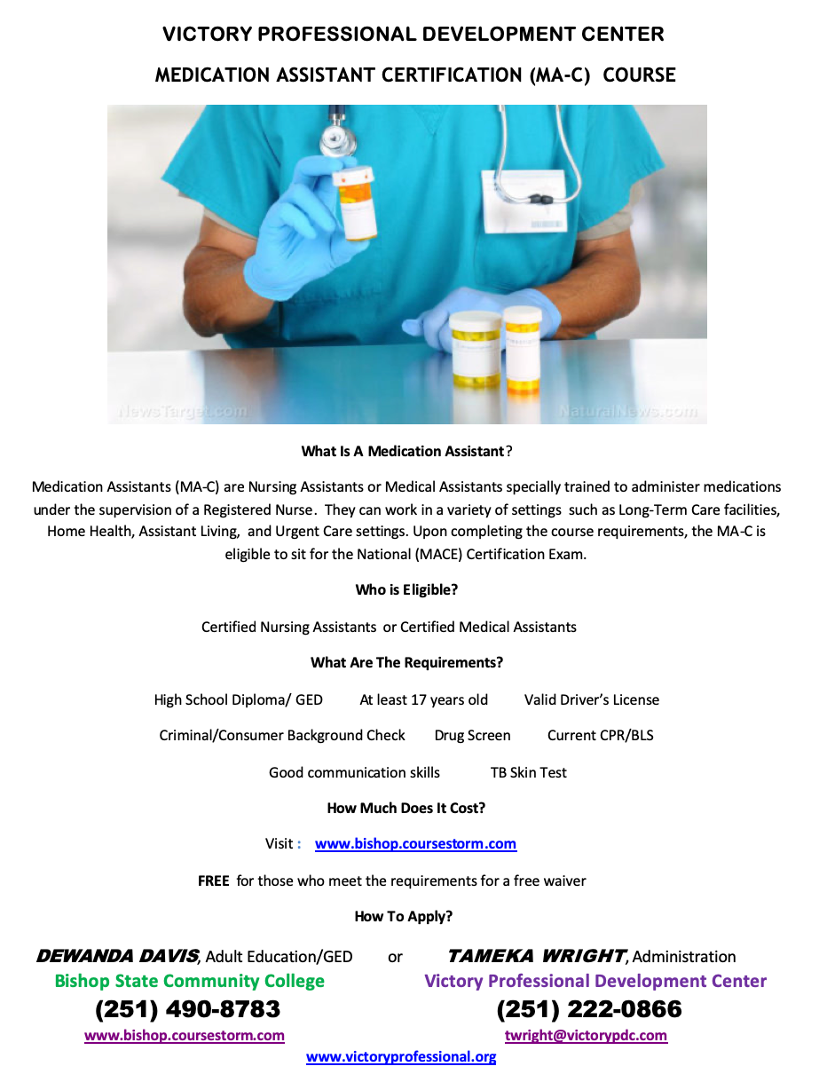 Medication Assistant Certification flyer for Victory Professional Development Center