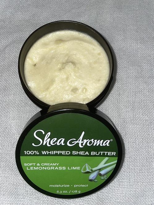 SHEA AROMA: 100% PURE WHIPPED SHEA BUTTER: LEMONGRASS LIME