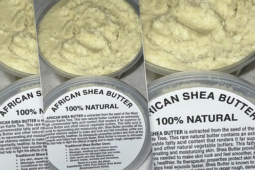 PURE NATURAL WHITE AFRICAN SHEA BUTTER FROM AFRICA: 8OZ
