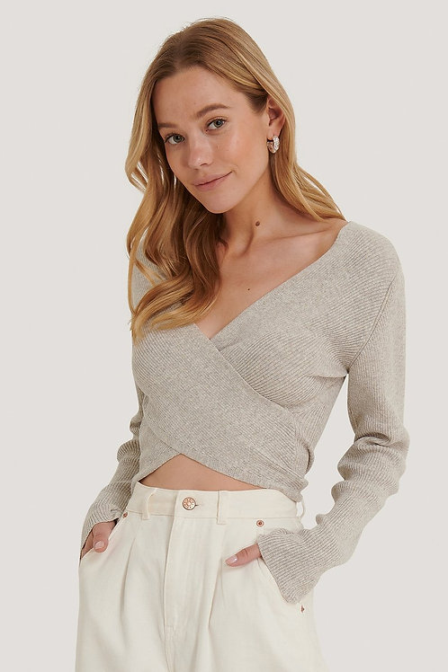 Crossover Sweater-Grey