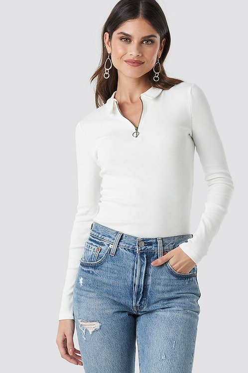 Zipped Ribbed Top