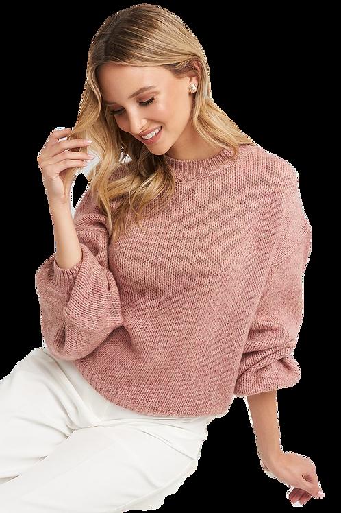 Crew Neck Volume Sleeve Knit Sweater