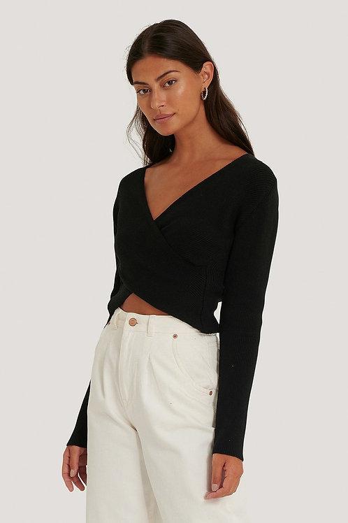 Crossover Sweater-Black