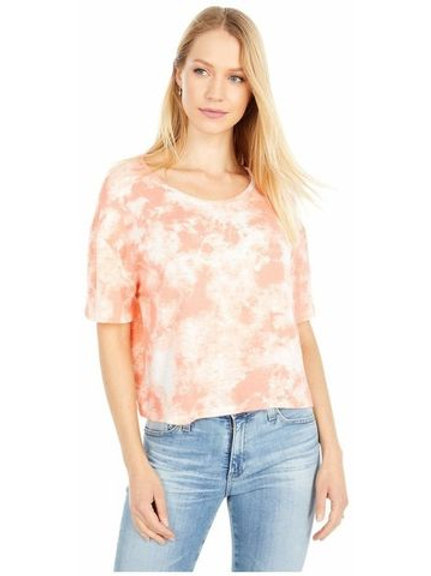 Relaxed Flowy Tie Dye Crop-Coral