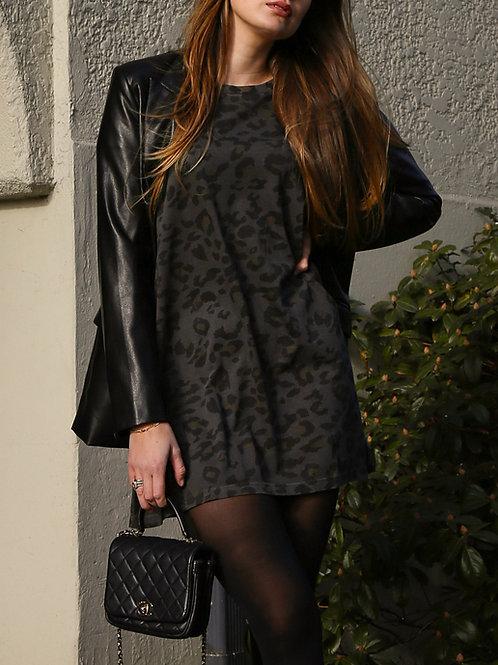 The Leopard Tee Dress-Slate