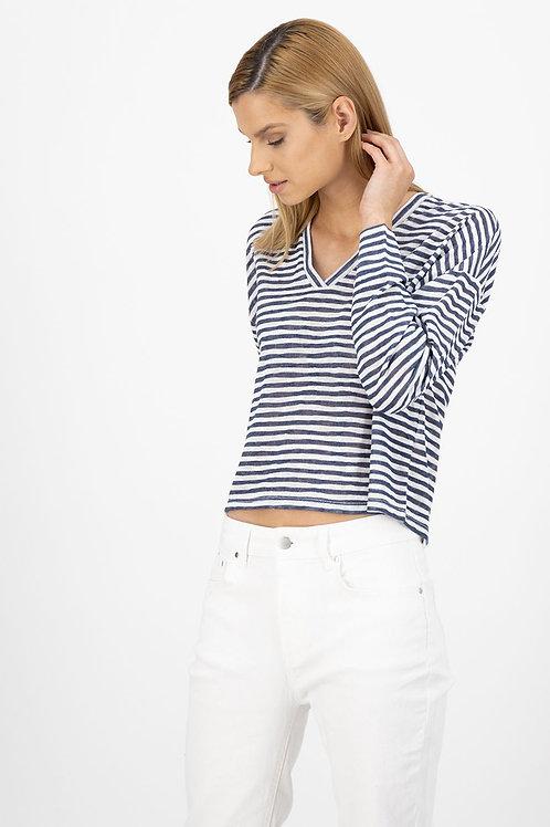 Striped V Neck Top
