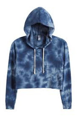 Terry Cropped Raw Edge Hoodie-Blue