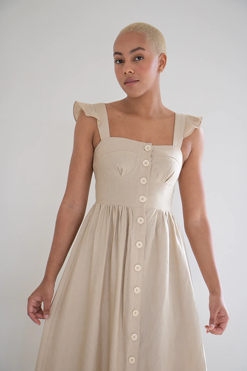 Lucy Linen Button Up Midi