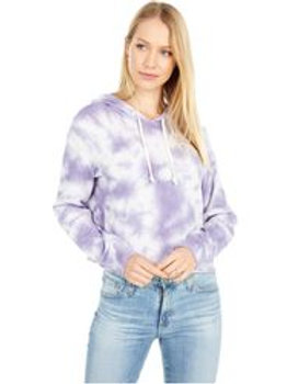 Terry Cropped Raw Edge Hoodie-Purple
