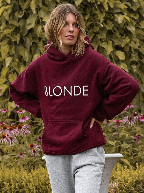 Burgandy Hoodie-Blonde