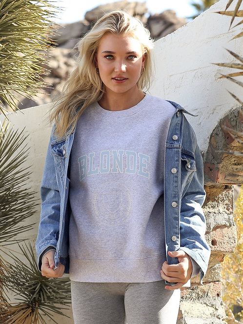 Blonde Varsity Step Sister Crew Neck Sweater