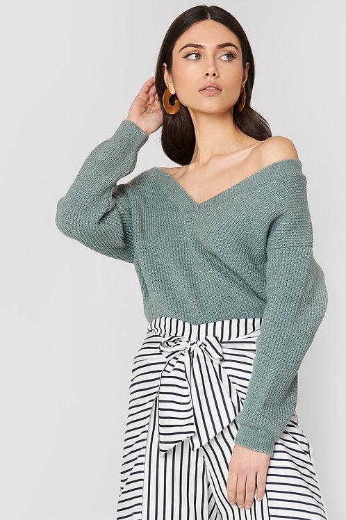 Off Shoulder V Knitted Sweater