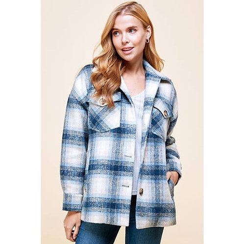 Wool Blend Plaid Shacket