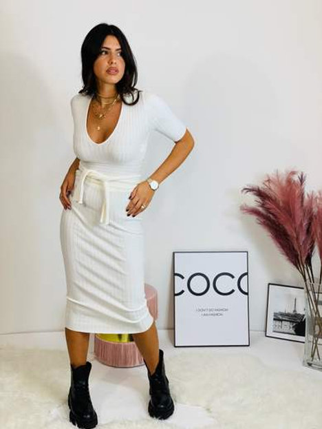 Cream Ribbed Pencil Skirt