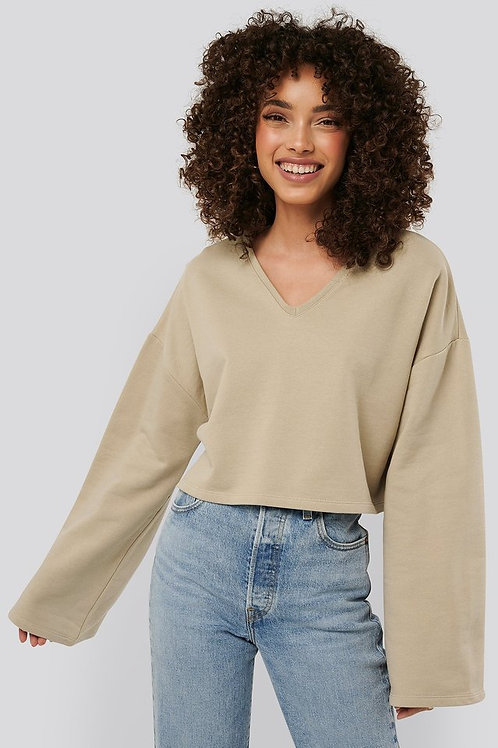 Cropped V Neck Oversized Sweater