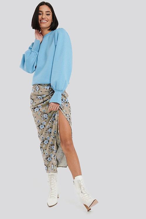 Gathered Side Split Midi Skirt