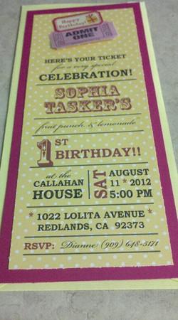 sophias 1st birthday invitation