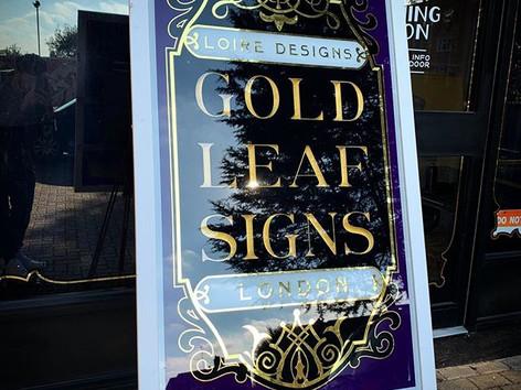 Gold leaf signs reverse glass gilding