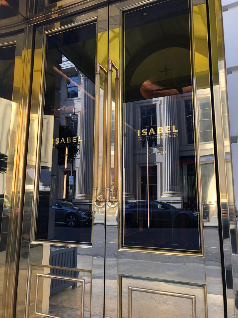 isabel reverse glass gilding door signs.
