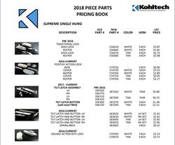 2018 Piece Parts Pricing Book